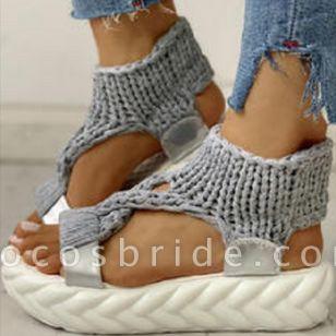 Women's Knit Slingbacks Fabric Flat Heel Sandals Platforms