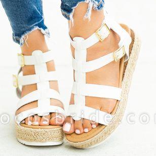 Women's Buckle Slingbacks Wedge Heel Sandals Platforms