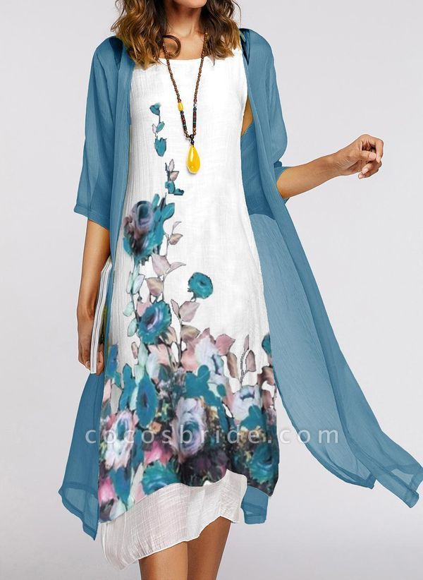 Chinese Style Floral Wrap Tank Shift Dress