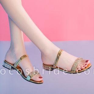 Women's Rhinestone Flats Chunky Heel Sandals Slippers