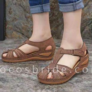 Women's Buckle Hollow-out Flats Flat Heel Sandals