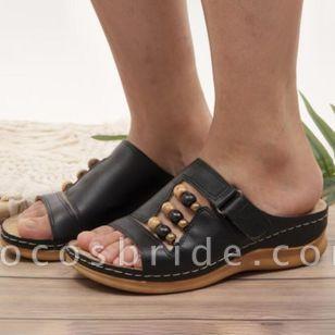 Women's Rhinestone Velcro Heels Wedge Heel Sandals
