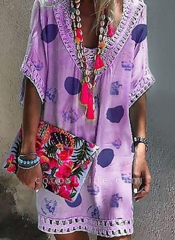 Purple Plus Size Tunic Geometric V-Neckline Casual Hollow Out Plus Dress