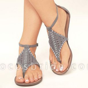 Women's Hollow-out Ankle Strap Flip-Flops Flat Heel Sandals