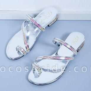 Women's Heels Sparkling Glitter Low Heel Sandals