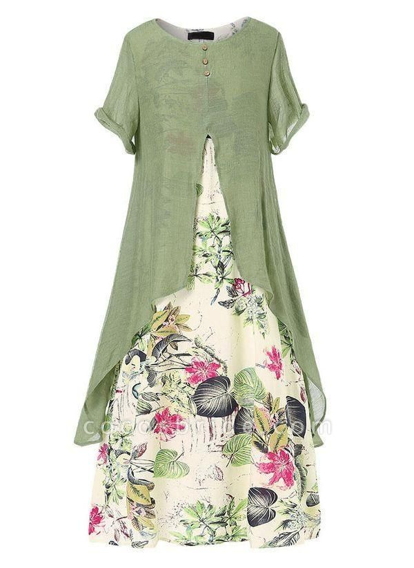 Green Plus Size Color Block Round Neckline Casual Buttons Maxi Plus Dress