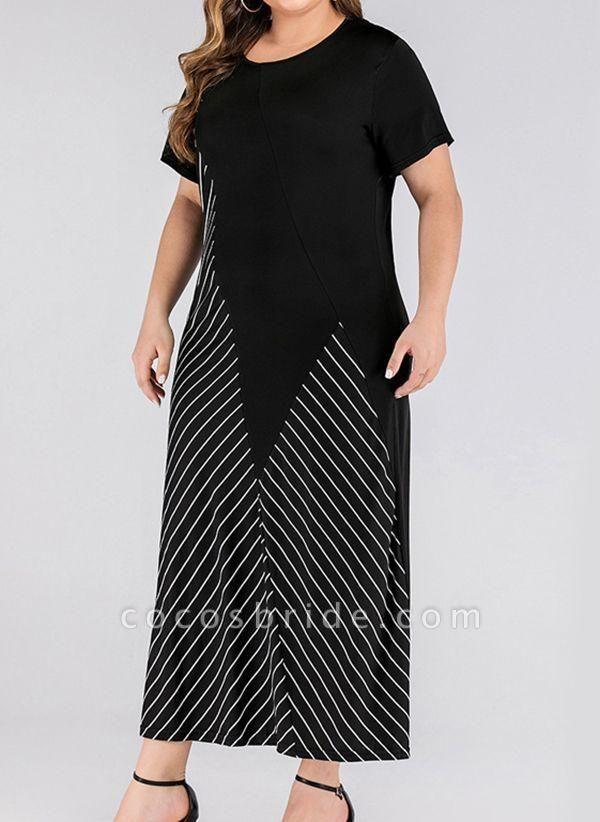 Black Plus Size Stripe Round Neckline Casual Maxi X-line Dress Plus Dress