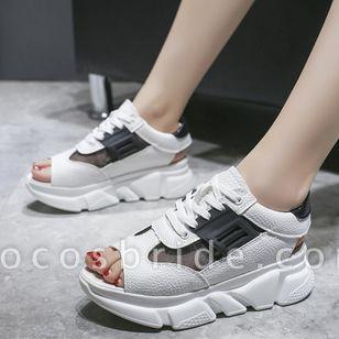 Women's Lace-up Split Joint Flats Flat Heel Sandals