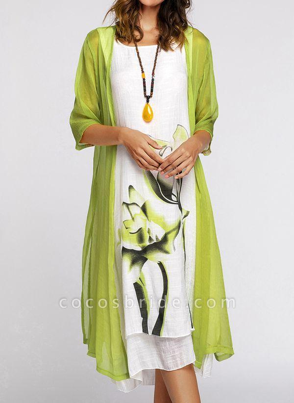 Floral Wrap Round Neckline Midi X-line Dress