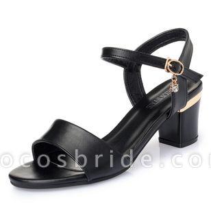 Women's Ankle Strap Peep Toe Low Heel Sandals
