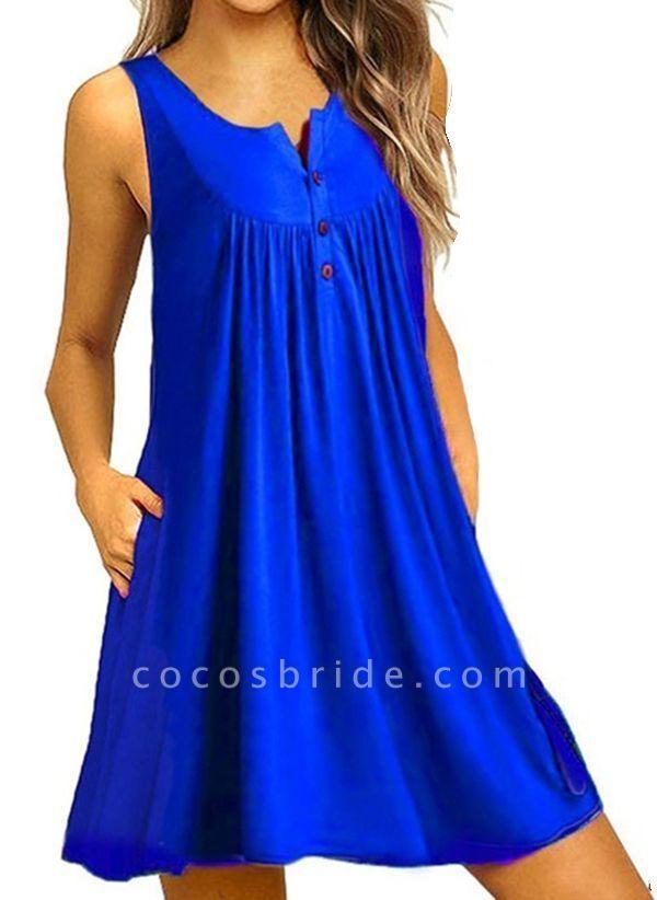 Royal Blue Plus Size Tunic Solid Round Neckline Casual Pockets Plus Dress
