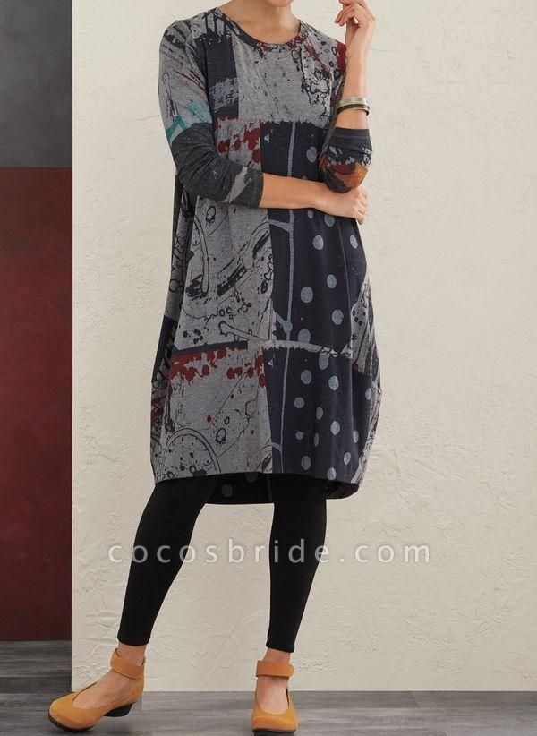 Gray Plus Size Floral Round Neckline Casual Midi A-line Dress Plus Dress