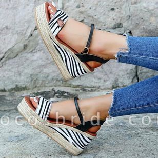 Women's Leopard Buckle Slingbacks Leatherette Wedge Heel Sandals Wedges