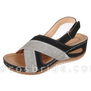 Women's Velcro Round Toe Nubuck Low Heel Sandals