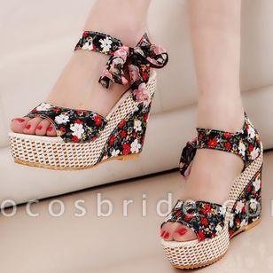 Women's Lace-up Flower Slingbacks Cloth Wedge Heel Sandals