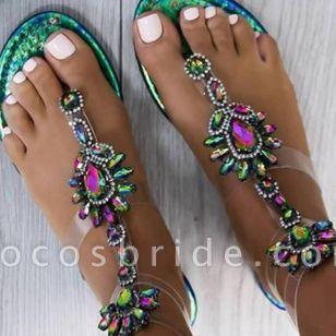 Women's Crystal Flip-Flops Flat Heel Sandals