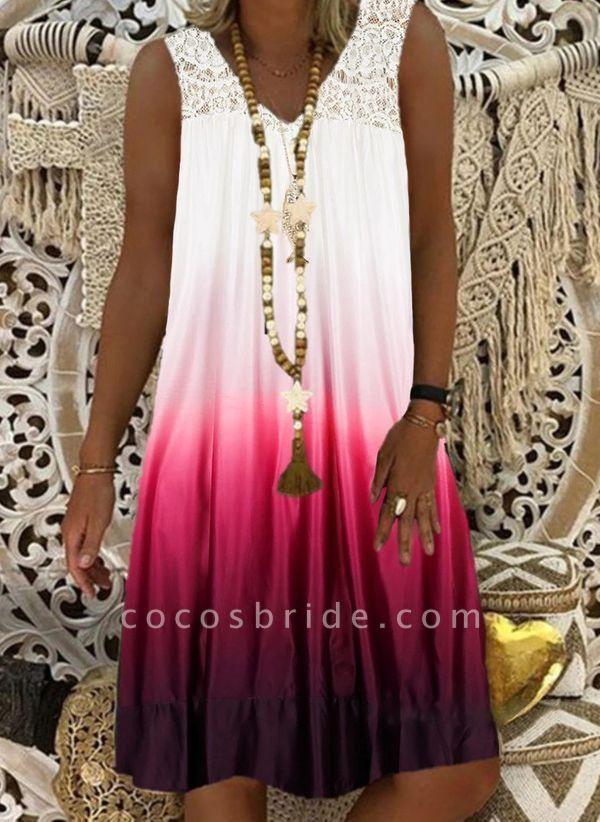 Burgundy Plus Size Tunic Color Block V-Neckline Casual Lace Plus Dress