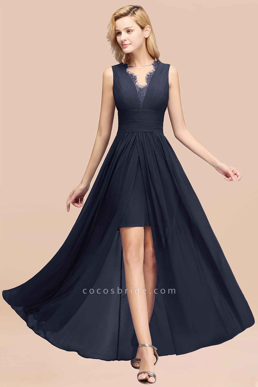 BM0835 Lace Chiffon Jewel Sleeveless Ruffles Short Bridesmaid Dress