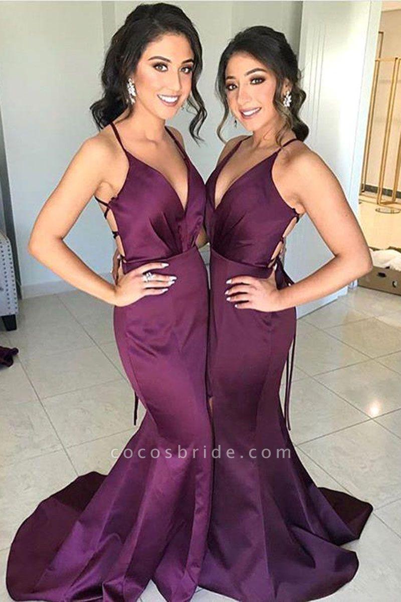 V-neck Emulation Silk Elastic Mermaid Floor Length Bridesmaid Dress