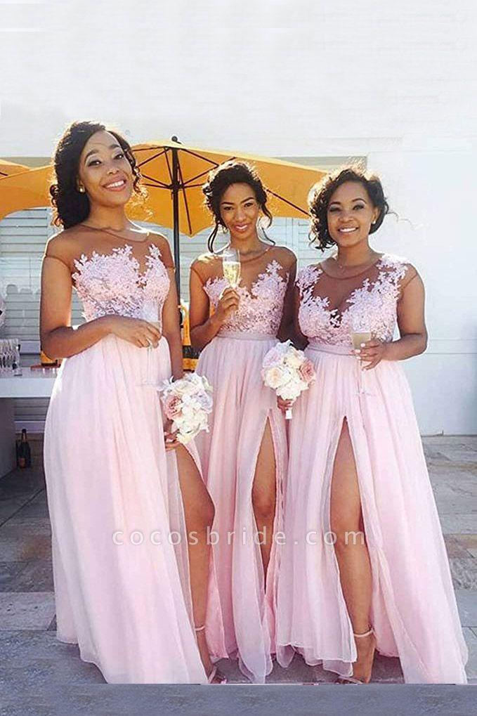 Lace Chiffon Floor-Length A-line Bridesmaid Dress