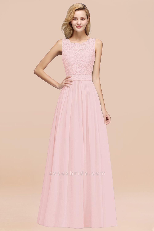 BM0834 Chiffon A-Line Lace Scalloped Sleeveless Long Ruffles Bridesmaid Dress