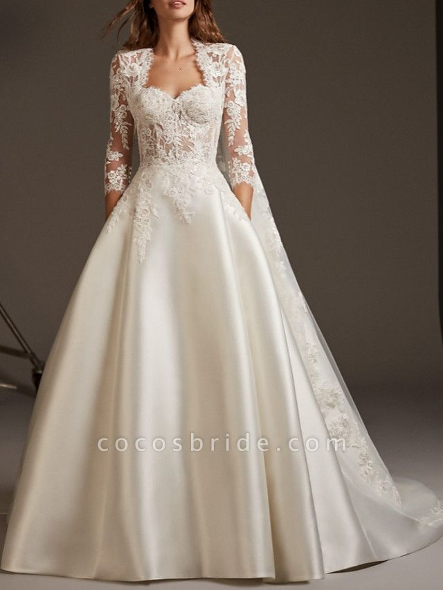 Ball Gown Wedding Dresses Sweetheart Neckline Sweep \ Brush Train Lace Satin 3\4 Length Sleeve Plus Size Illusion Sleeve