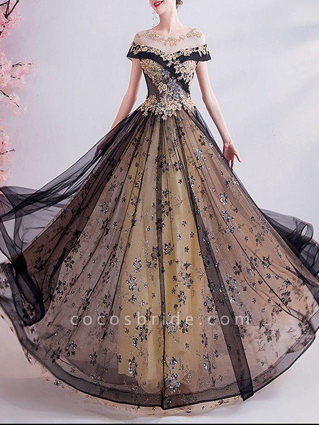 A-Line Wedding Dresses Jewel Neck Sweep \ Brush Train Chiffon Tulle Sleeveless Formal Plus Size Black
