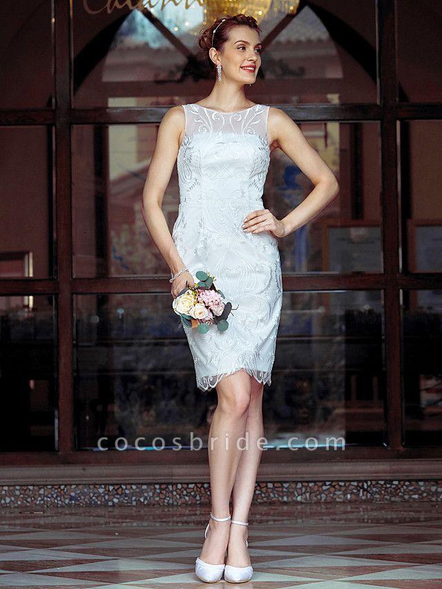 Sheath \ Column Wedding Dresses Bateau Neck Knee Length Metallic Lace Sleeveless Little White Dress See-Through