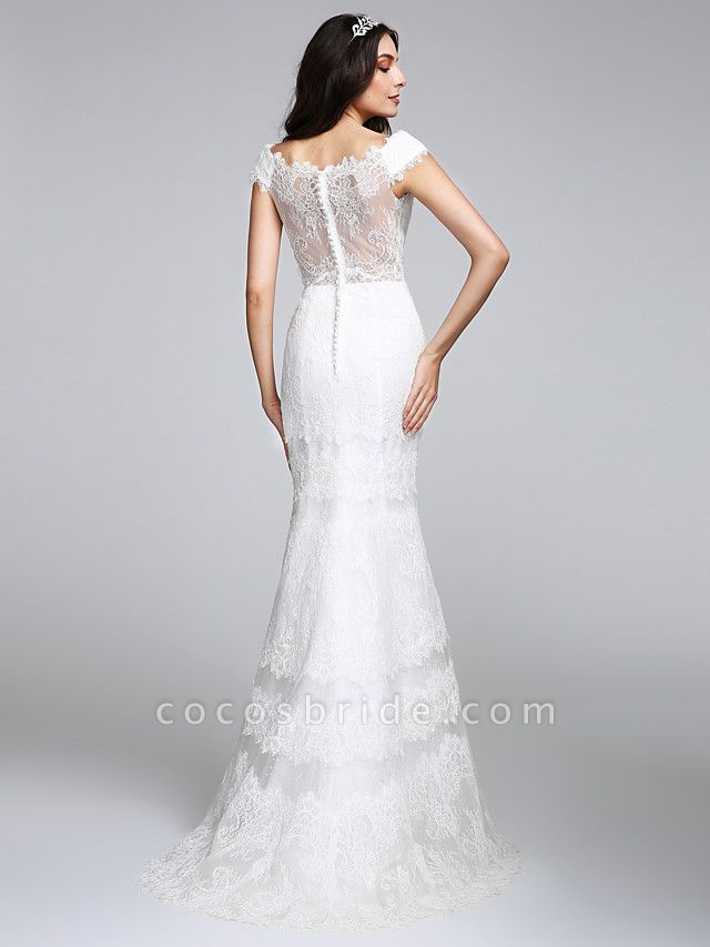 Mermaid \ Trumpet Wedding Dresses V Neck Floor Length All Over Lace Cap Sleeve Romantic Sexy Illusion Detail Backless