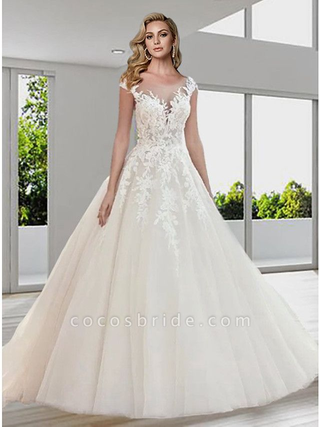 Ball Gown A-Line Wedding Dresses Jewel Neck Sweep \ Brush Train Lace Tulle Short Sleeve Sexy See-Through Backless
