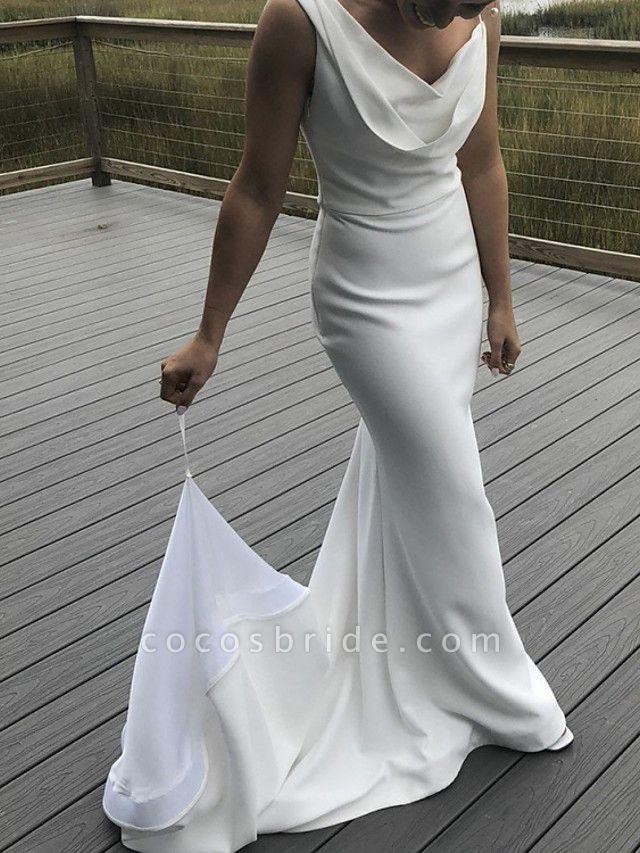 Mermaid \ Trumpet Wedding Dresses Bateau Neck V Neck Sweep \ Brush Train Satin Sleeveless Simple