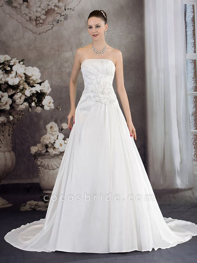 A-Line Strapless Chapel Train Taffeta Strapless Wedding Dresses