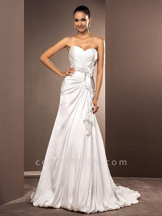 A-Line Wedding Dresses Sweetheart Neckline Court Train Satin Chiffon Strapless