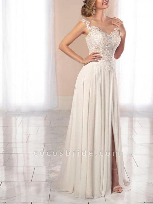 A-Line Wedding Dresses Scoop Neck Court Train Chiffon Lace Regular Straps Romantic Illusion Detail Backless