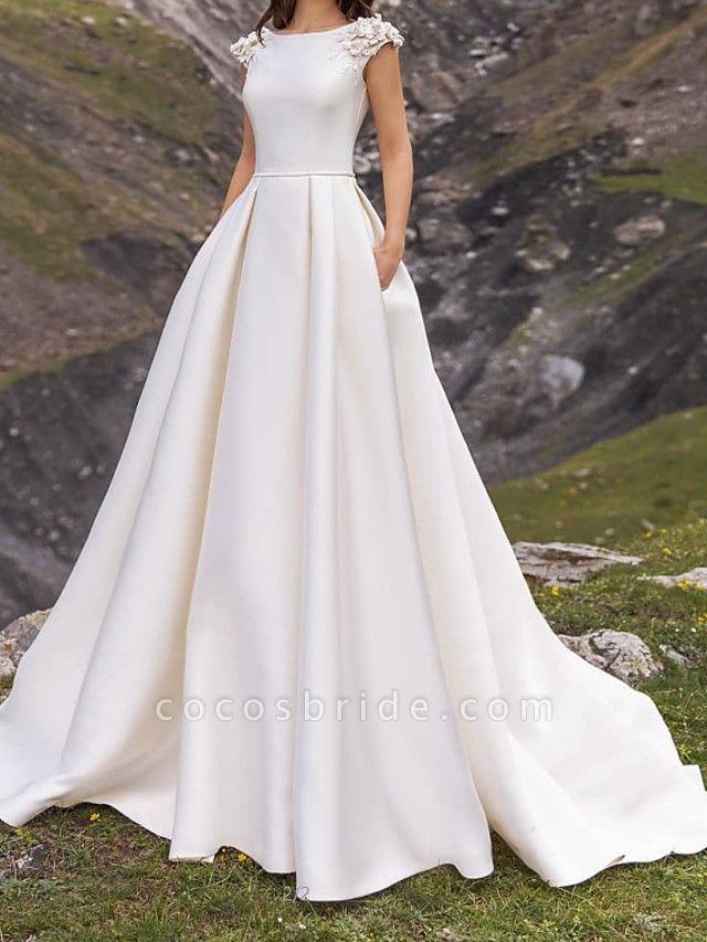 A-Line Wedding Dresses Jewel Neck Sweep \ Brush Train Satin Cap Sleeve Simple
