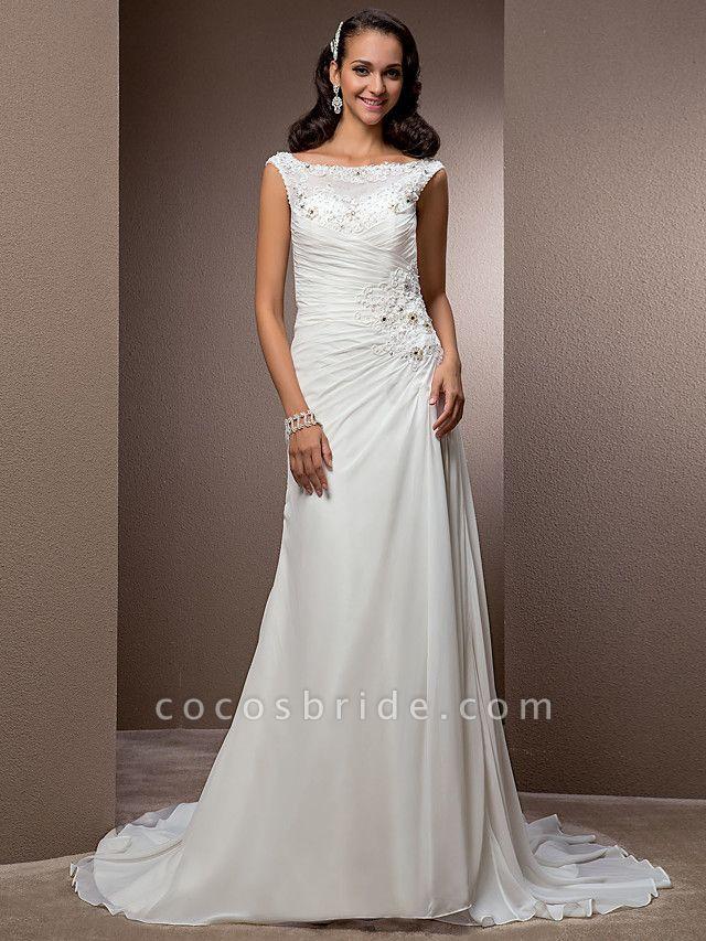 Sheath \ Column Wedding Dresses Bateau Neck Court Train Chiffon Cap Sleeve