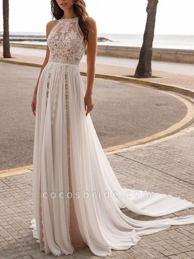 A-Line Wedding Dresses Halter Neck Sweep \ Brush Train Chiffon Sleeveless Beach Sexy See-Through