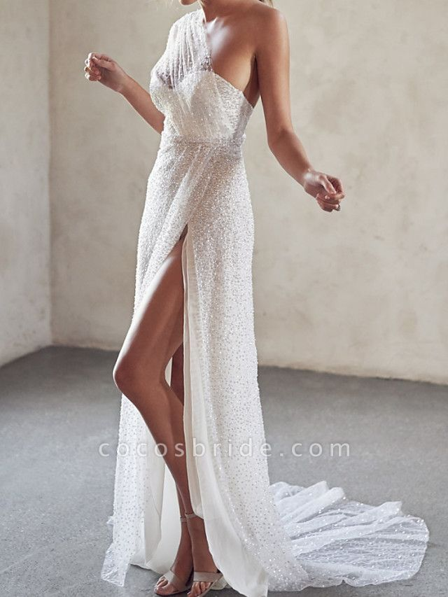 A-Line Wedding Dresses One Shoulder Strapless Court Train Tulle Sequined Sleeveless Sexy Wedding Dress in Color See-Through