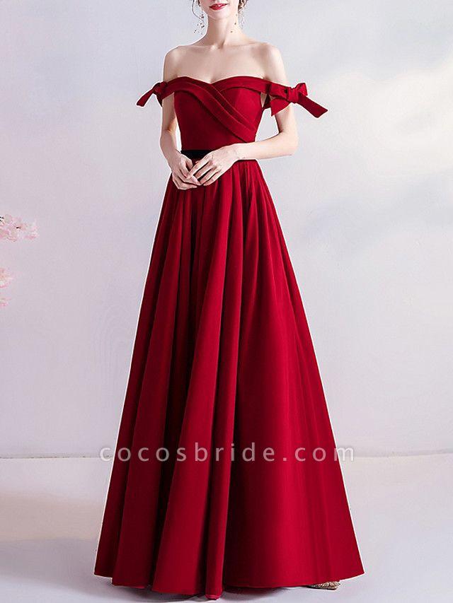 A-Line Wedding Dresses Off Shoulder Floor Length Satin Cap Sleeve Romantic Plus Size Red