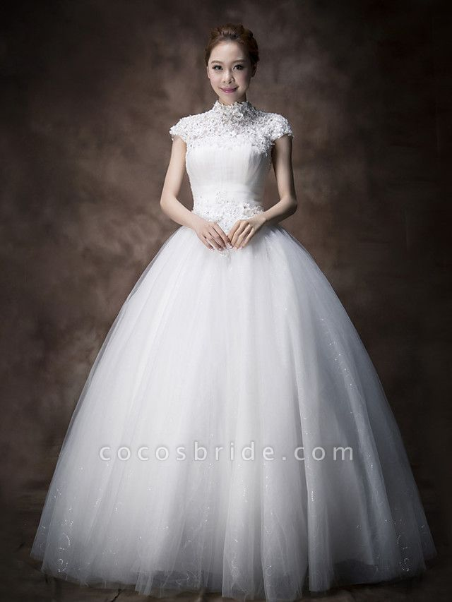 Ball Gown A-Line Wedding Dresses High Neck Floor Length Lace Tulle Cap Sleeve