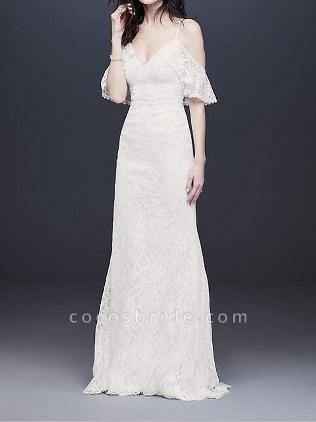 A-Line Wedding Dresses V Neck Floor Length Polyester Half Sleeve Country Plus Size