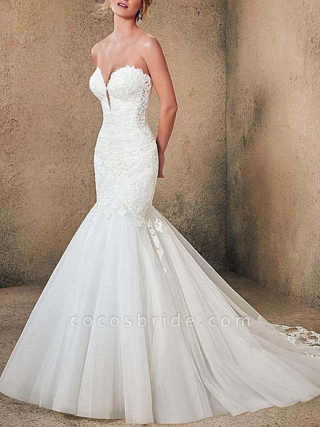 Mermaid \ Trumpet Strapless Sweep \ Brush Train Lace Tulle Sleeveless Formal Sexy Backless Wedding Dresses