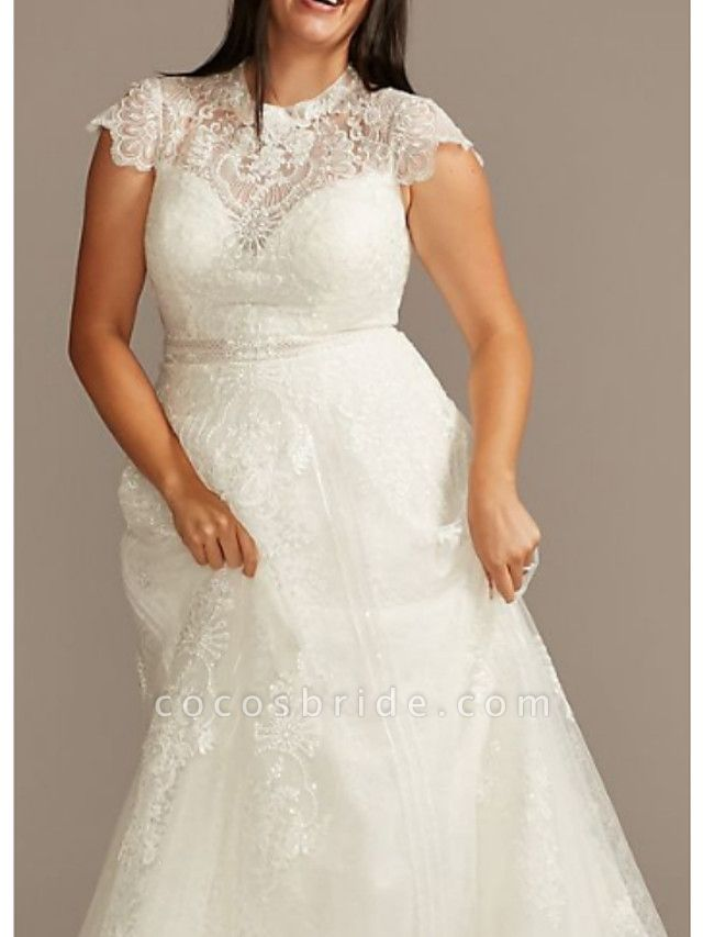 A-Line Jewel Neck Sweep \ Brush Train Lace Charmeuse Short Sleeve Formal Plus Size Wedding Dresses