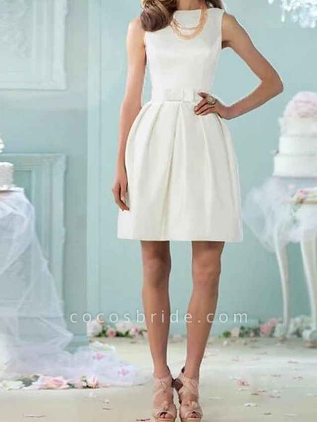 A-Line Wedding Dresses Jewel Neck Knee Length Cotton Sleeveless Vintage Little White Dress