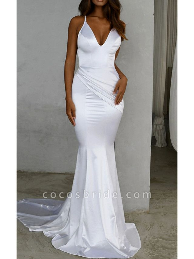 Mermaid \ Trumpet Wedding Dresses V Neck Sweep \ Brush Train Satin Spaghetti Strap Simple Sexy Backless
