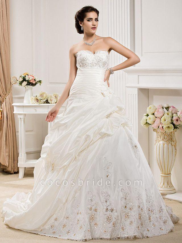 Ball Gown Sweetheart Neckline Court Train Taffeta Sleeveless Wedding Dresses