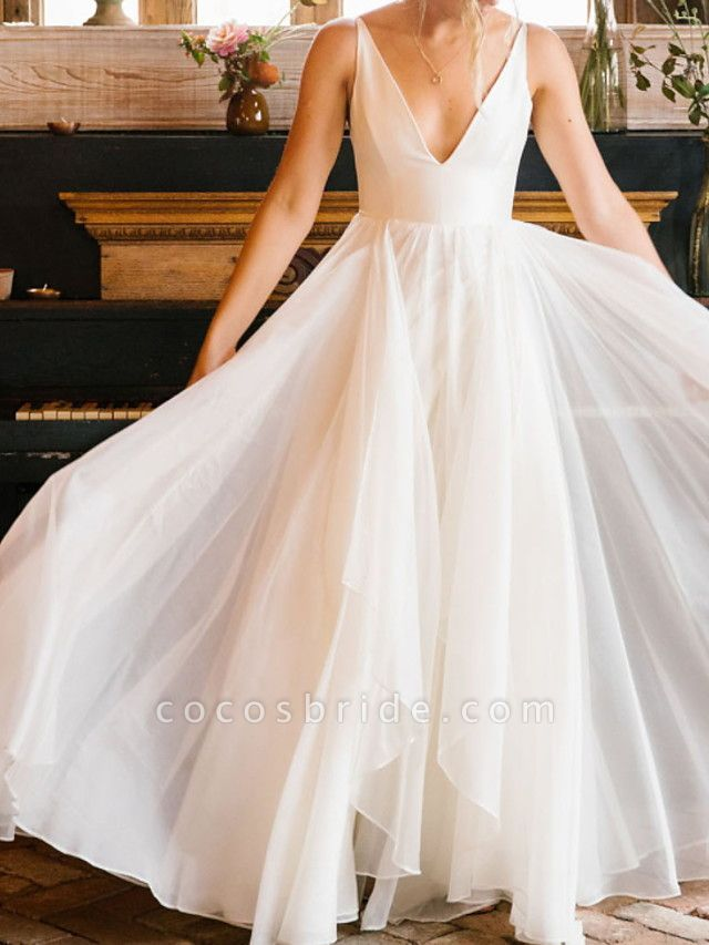 A-Line Wedding Dresses V Neck Floor Length Chiffon Sleeveless Simple
