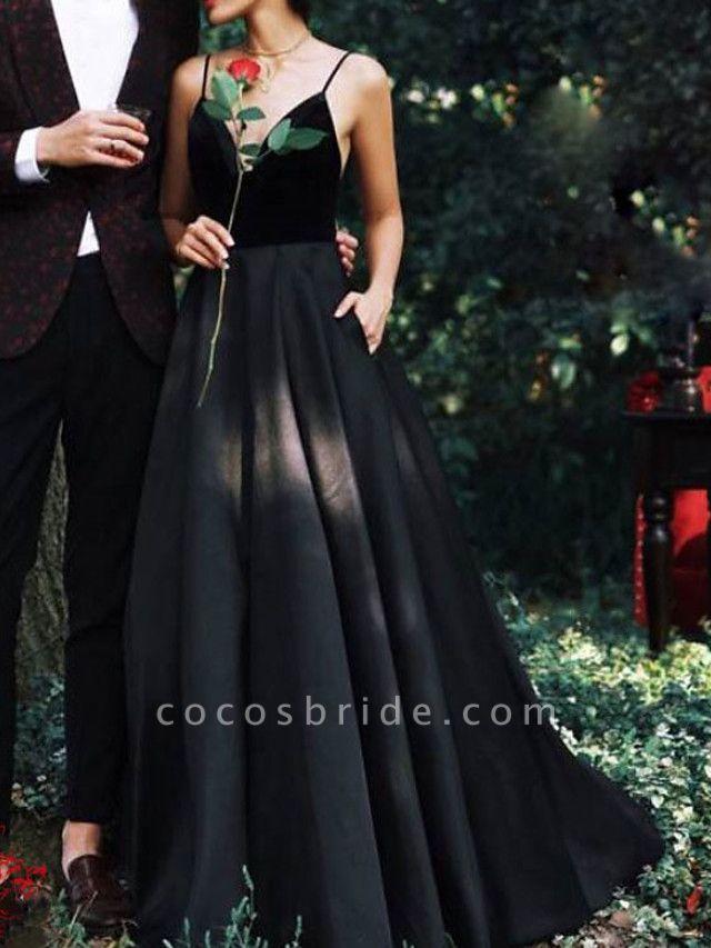 A-Line Wedding Dresses V Neck Floor Length Lace Spaghetti Strap Formal Black