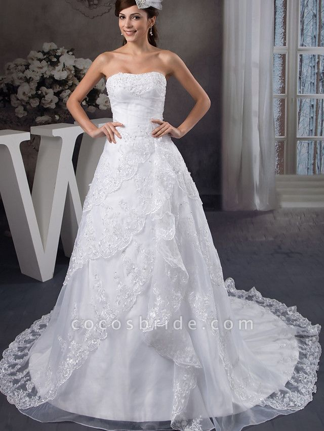 A-Line Strapless Chapel Train Lace Organza Satin Strapless Wedding Dresses
