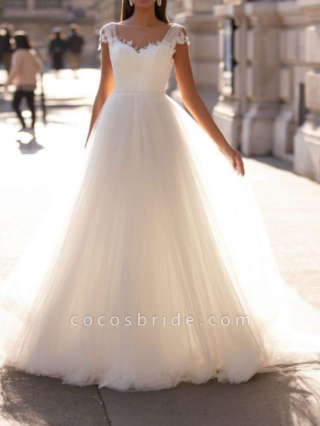 A-Line Wedding Dresses V Neck Floor Length Polyester Sleeveless Country Illusion Detail Plus Size